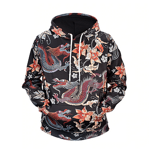 DRAGON AND FLOWER DESIGN HOODIE